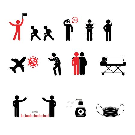 Person basic body language pictogram, symptom and prevention covid-19 Ilustrace