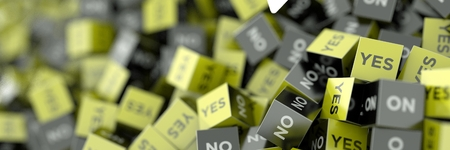 decides: Yes and no cubes, original three dimensional illustration.