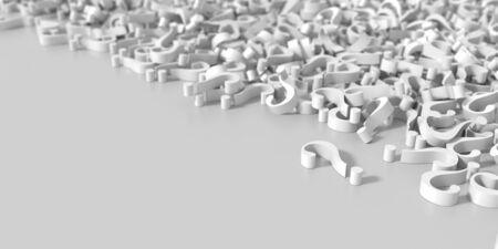 interrogation: Infinite question marks, original three dimensional illustration Stock Photo