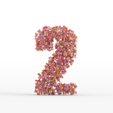 number icon: Number 2 icon isolated on white, original three dimensional illustration