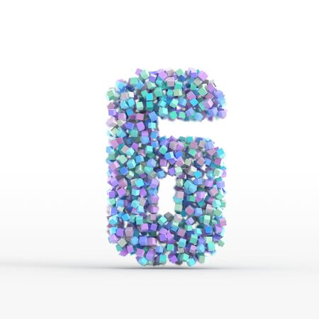number icon: Number 6 icon isolated on white, original three dimensional illustration