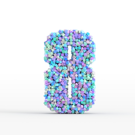 number icon: Number 8 icon isolated on white, original three dimensional illustration