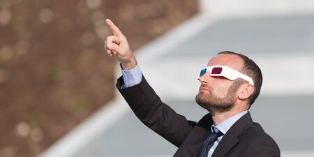 stupor: Businessman outdoor with 3d glasses