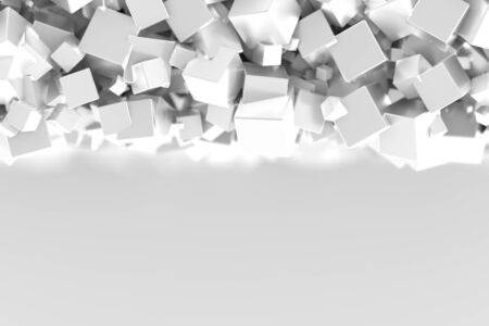 Abstract gray cubes three dimensional background, 3d rendering