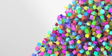 Abstract multi colored cubes three dimensional background, 3d rendering