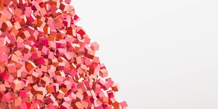 three dimensional background: Abstract red cubes three dimensional background, 3d rendering