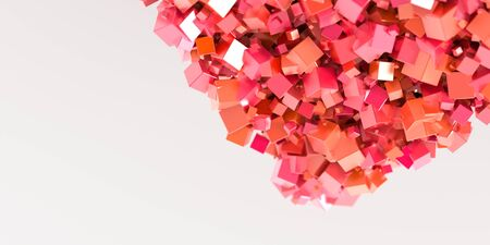 three dimensional: Abstract red cubes three dimensional background, 3d rendering