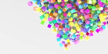 three dimensional background: Abstract multi colored cubes three dimensional background, 3d rendering