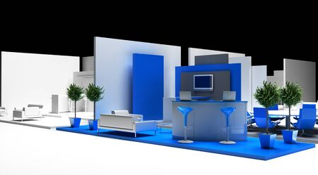 Blank exhibition booth, 3d rendering, corporate communication 版權商用圖片