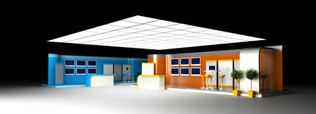 business event: Blank exhibition booth, 3d rendering, corporate communication Stock Photo