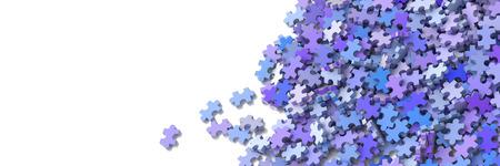 Jigsaw sfondo concettuale, illustrazione 3D con spazio di copia