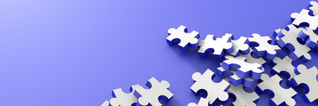 team group: Jigsaw conceptual background, 3d illustration with copy space Stock Photo