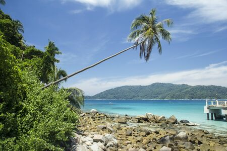 perhentian: Tropical beach in Malaysia, panoramic view