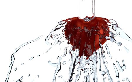Heart water splash, 3d rendering Stock fotó