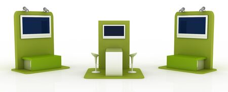 copy: Empty exhibition booth, copy space illustration, 3d rendering