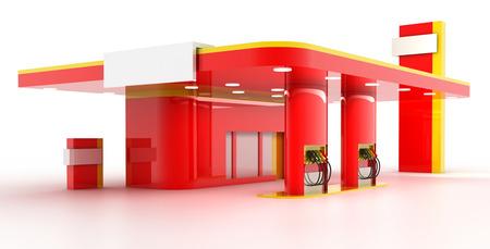 Pusty stacji benzynowej, kopia przestrzeń ilustracji, renderowania 3d Zdjęcie Seryjne