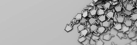 3d cursor: Hand cursor icon background, 3d render; internet concepts