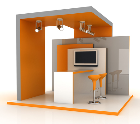 Empty exhibition booth, copy space illustration, 3d rendering