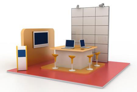 Leere Messestand, Kopie Raum Illustration, 3D-Rendering Standard-Bild - 55710947