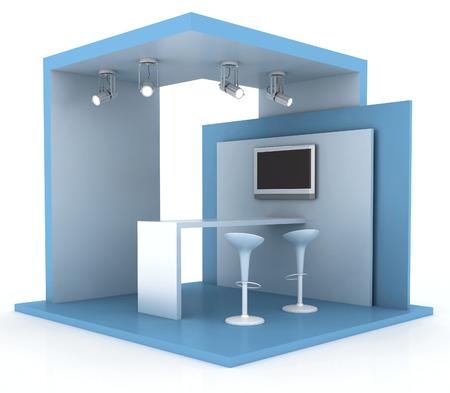 Lege beursstand, kopie ruimte illustratie, 3D-rendering