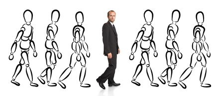 different goals: Businessman out from the crowd Stock Photo