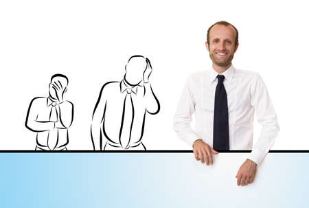 different goals: Happy businessman out from the crowd