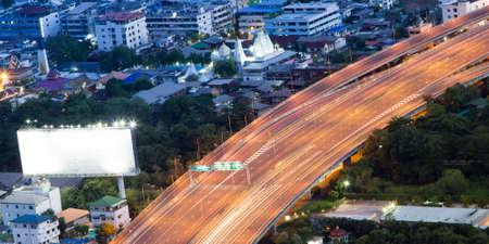 bangkok NIGHT: Bangkok night aerial view, traffic lights