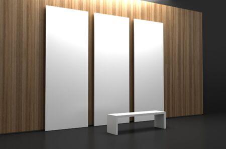 museum: Empty museum hall, 3d rendering. Blank frames.