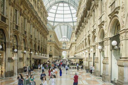 arcade: Vittorio Emanuele shopping arcade, Milan Italy