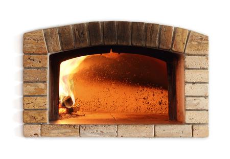 horno tradicional del fuego para la pizza, de estilo italiano Foto de archivo
