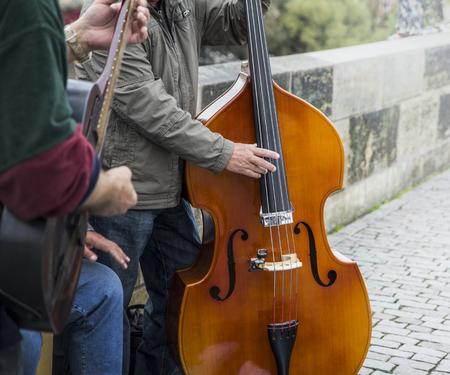 praha: Music player in the streets of Praha, Czech Republic Stock Photo