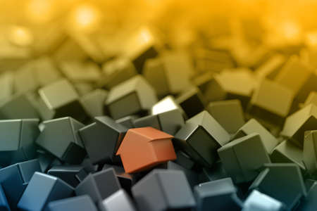 first house: Home and property concepts, 3d background Stock Photo