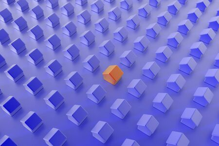multiple house: Home and property concepts, 3d background Stock Photo
