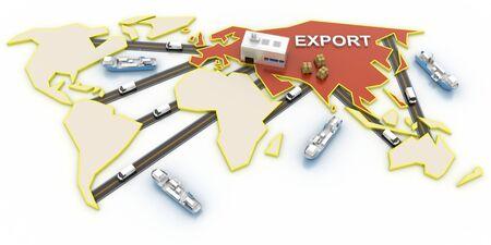hong kong street: China export concepts, 3d illustration