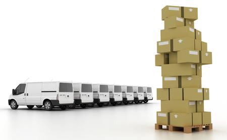 cargo van: Logistics industry concepts, 3d illustration Stock Photo