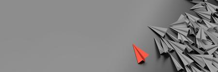 Infinite paper planes on a plane, original 3d rendering illustration, horizontal banner size Stock Photo