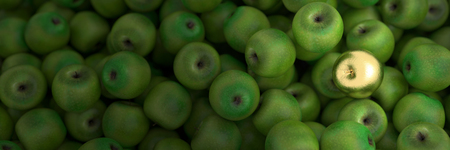 golden apple: Golden apple standing out from the crowd, leadership concepts, 3d rendering