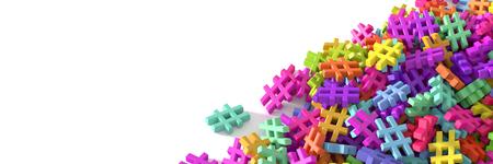 Unendlichen Hashtags auf einer Ebene, original 3D-Rendering-Illustration Standard-Bild