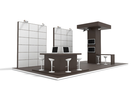 exhibition stand: Exhibition stand on white, original 3d rendering and models