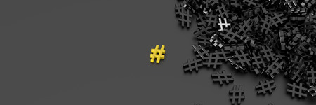 distinct: Infinite hashtags on a plane, original 3d rendering illustration. With one icon distinct and out from the crowd.