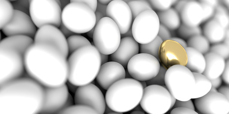 golden egg: One golden egg 3d rendering, leadership and individuality concepts Stock Photo