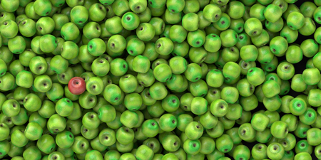 standing out: Apple standing out from the crowd, leadership concepts, 3d rendering