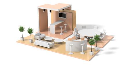 Messestand auf weiß, original 3D-Rendering und Modelle