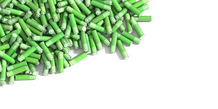 batteries: Infinite alkaline batteries on a plane, original 3d rendering Stock Photo