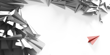 distinct: Infinite paper planes three dimensional rendering with one distinct and out from the crowd Stock Photo