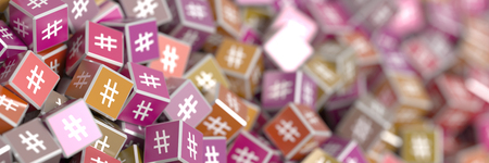 tweet icon: Infinite hashtags on a plane, original 3d rendering illustration Stock Photo