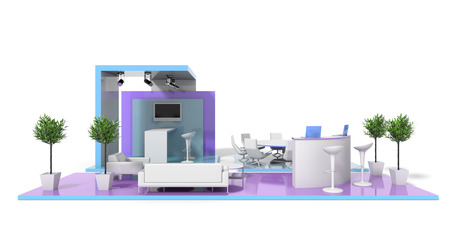 Messestand auf weiß, original 3D-Rendering und Modelle Standard-Bild