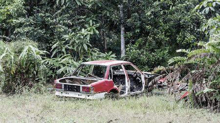 abandoned car: Abandoned destroyed old car