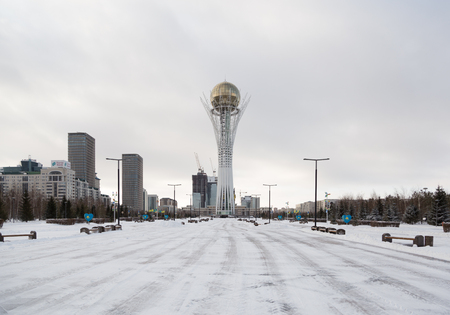 Astana, the capital of Kazakhstan. This city will be the site of Expo 2017. Photo taken in a cold winter day.