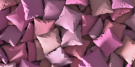 Infinite pillows on a plane, night and sleep conceptual background. 3d rendering